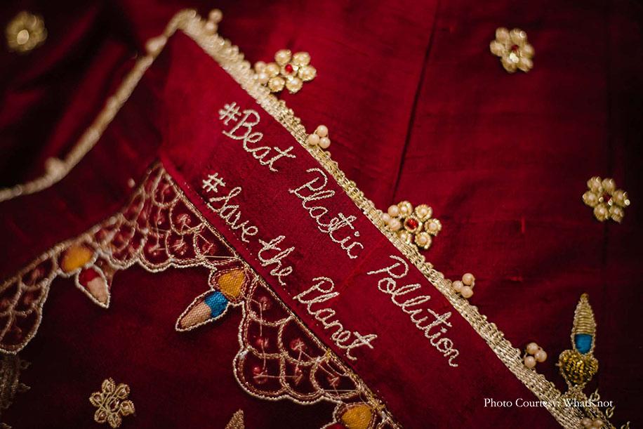 maroon wedding lehenga for eco-friendly wedding