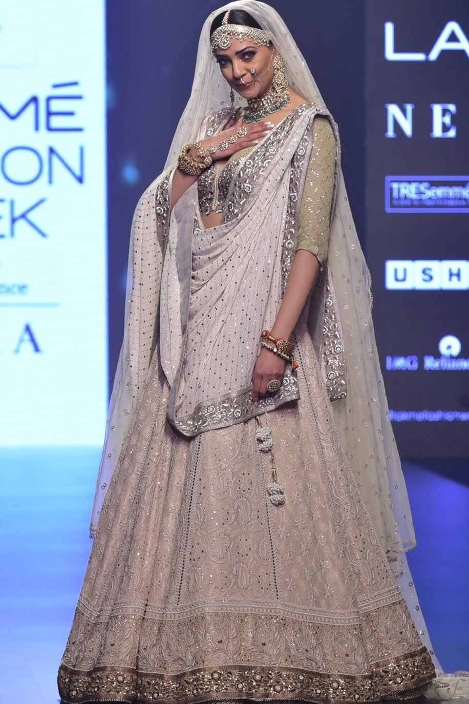 Beige & Ivory Kaamdani & Chikankari work Bridal Lehenga set by House of Kotwara