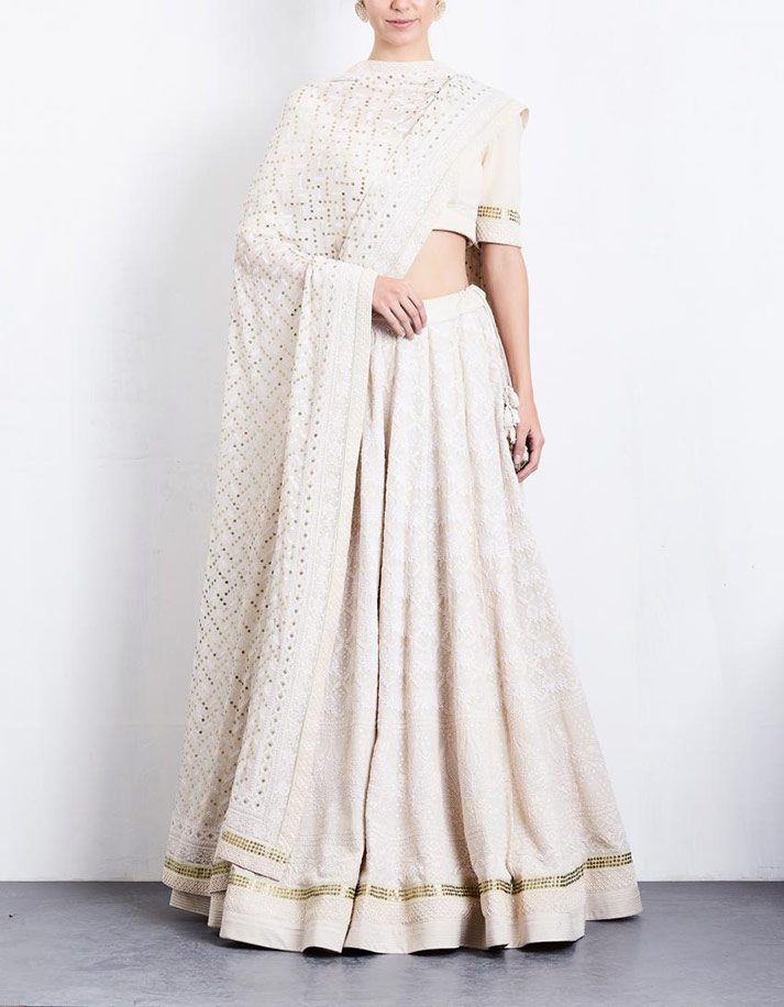 Ivory Lehenga with Parsi Gara and Chikan work by Anjul Bhandari