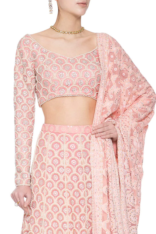 Blush Pink Chikankari embroidered Lehenga by Umrao Couture