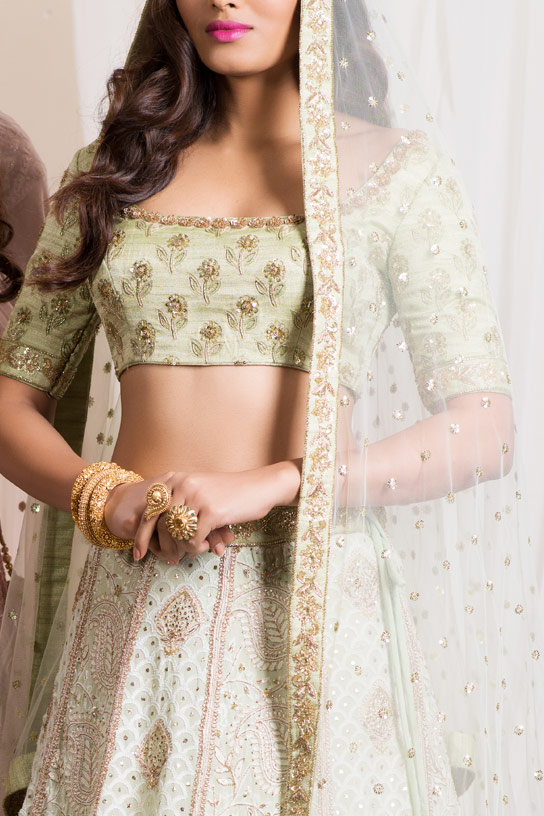 Pale Mint Chikankari Lehenga with Abla work by Sumona