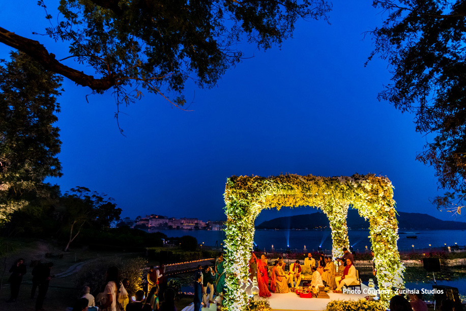 Outdoor Wedding Mandap with lilies, orchids and gypsophila blooms
