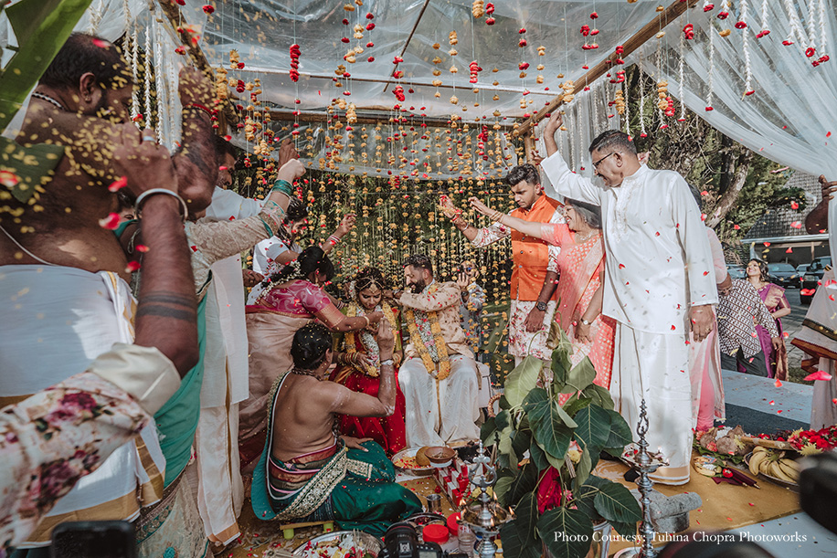 Tamil wedding Indian couple intimate eco friendly decor in Malaysia