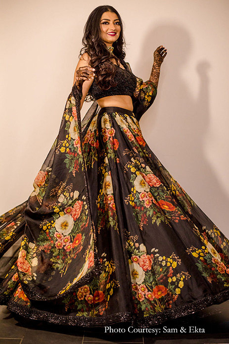 Black lehenga by Sabyasachi for sangeet