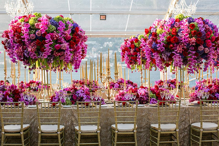 Wedding Decor with giant purple and pink centerpieces by Karen Tran
