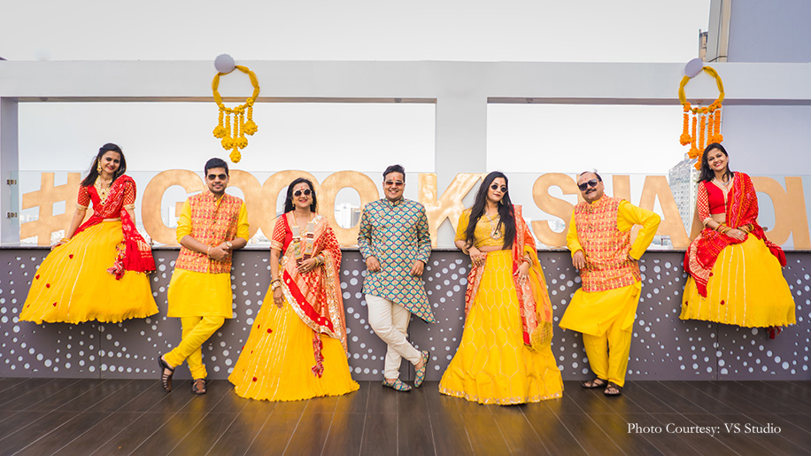 yellow and red color scheme for Bhaat celebrations