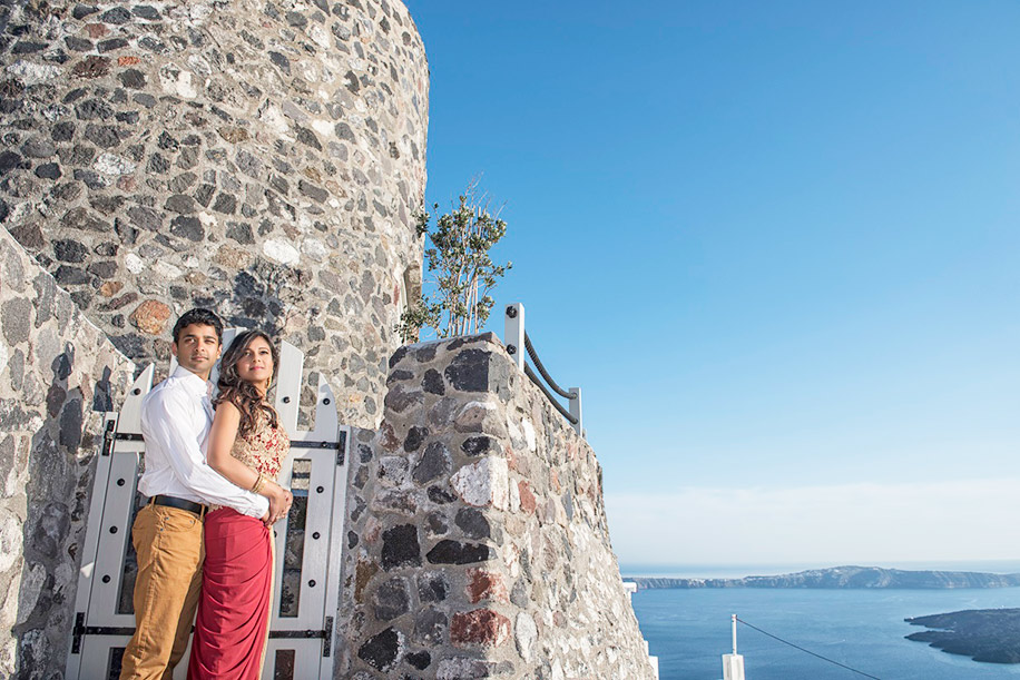 Renu and Vishesh, Santorini, Greece