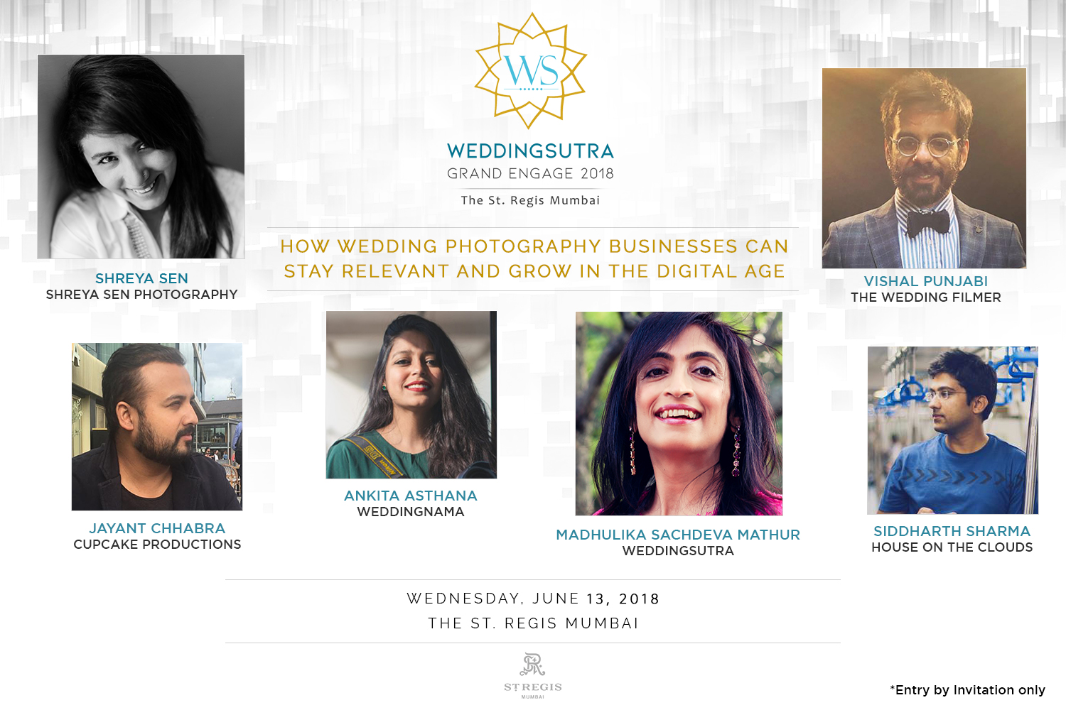 Panelists - Ankita Asthana (Co-founder, WeddingNama), Jayant Chhabra (Co-founder, Cupcake Productions), Shreya Sen (Founder, Shreya Sen Photography), Siddharth Sharma (Founder, House On The Clouds), Vishal Punjabi (Founder, The Wedding Filmer)